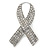 Clear Crystal Breast Cancer Awareness Ribbon Lapel Pin In Rhodium Plating - 55mm L