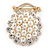 White Faux Pearl & Clear Diamante Round Scarf Pin/ Brooch In Gold Finish - 32mm D - view 2