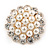 White Faux Pearl & Clear Diamante Round Scarf Pin/ Brooch In Gold Finish - 32mm D - view 5