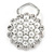 White Faux Pearl & Clear Diamante Round Scarf Pin/ Brooch In Silver Finish - 32mm D