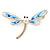 Elegant White/ Light Blue Enamel, Faux Pearl, Crystal Dragonfly Brooch In Gold Tone Metal - 60mm W
