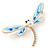 Elegant White/ Light Blue Enamel, Faux Pearl, Crystal Dragonfly Brooch In Gold Tone Metal - 60mm W - view 6
