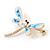 Elegant White/ Light Blue Enamel, Faux Pearl, Crystal Dragonfly Brooch In Gold Tone Metal - 60mm W - view 5