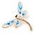 Elegant White/ Light Blue Enamel, Faux Pearl, Crystal Dragonfly Brooch In Gold Tone Metal - 60mm W - view 3