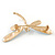 Elegant White/ Light Blue Enamel, Faux Pearl, Crystal Dragonfly Brooch In Gold Tone Metal - 60mm W - view 4