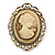 Diamante Cameo Scarf Pin/ Brooch In Gold Tone - 57mm Across