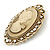 Diamante Cameo Scarf Pin/ Brooch In Gold Tone - 57mm Across - view 3