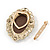 Diamante Cameo Scarf Pin/ Brooch In Gold Tone - 57mm Across - view 4