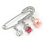 Medium Crystal Safety Pin Brooch with Charms In Silver Plated Metal - 50mm - view 3