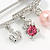 Medium Crystal Safety Pin Brooch with Charms In Silver Plated Metal - 50mm - view 4