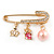 Medium Crystal Safety Pin Brooch with Charms In Gold Plated Metal - 50mm