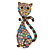 Vintage Inspired Multicoloured Crystal Cat Brooch In Antique Gold Tone Metal - 55mm L