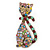 Vintage Inspired Multicoloured Crystal Cat Brooch In Antique Gold Tone Metal - 55mm L - view 5