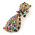 Vintage Inspired Multicoloured Crystal Cat Brooch In Antique Gold Tone Metal - 55mm L - view 2