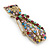 Vintage Inspired Multicoloured Crystal Cat Brooch In Antique Gold Tone Metal - 55mm L - view 3