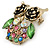 Vintage Inspired Multicoloured Crystal Owl Brooch In Aged Gold Tone - 40mm L - view 2