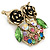 Vintage Inspired Multicoloured Crystal Owl Brooch In Aged Gold Tone - 40mm L - view 4