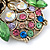 Vintage Inspired Multicoloured Crystal Owl Brooch In Aged Gold Tone - 40mm L - view 5