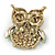 Vintage Inspired Multicoloured Crystal Owl Brooch In Aged Gold Tone - 40mm L - view 3