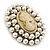 Victorian Inspired Faux Pearl Cameo Brooch In Antique Gold Tone - 55mm - view 3