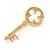 Medium Gold Plated Crystal Key Brooch - 45mm L