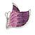 Pink/ Purple Enamel AB crystal Butterfly Brooch In Rhodium Plated Metal - 45mm