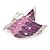 Pink/ Purple Enamel AB crystal Butterfly Brooch In Rhodium Plated Metal - 45mm - view 2