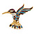 Small Enamel, Crystal Hummingbird Brooch In Gold Plated Metal (Purple, Teal) - 45mm W - view 1