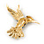 Small Enamel, Crystal Hummingbird Brooch In Gold Plated Metal (Purple, Teal) - 45mm W - view 3