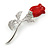Small Clear Crystal Red Rose Brooch In Rhodium Plated Metal - 48mm L
