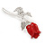 Small Clear Crystal Red Rose Brooch In Rhodium Plated Metal - 48mm L - view 2