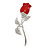 Small Clear Crystal Red Rose Brooch In Rhodium Plated Metal - 48mm L - view 5