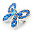 Small Blue Crystal Butterfly Brooch In Rhodium Plated Metal - 35mm L - view 2