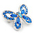 Small Blue Crystal Butterfly Brooch In Rhodium Plated Metal - 35mm L - view 3