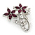 Small Clear Crystal, Purple CZ Floral Brooch In Rhodium Plated Metal - 30mm L - view 2