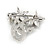 Small Clear Crystal, Purple CZ Floral Brooch In Rhodium Plated Metal - 30mm L - view 3