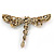 Vintage Inspired Amber/ Grey Crystal Dragonfly Brooch/ Pendant In Antique Gold Tone - 75mm - view 4