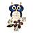 Funky Blue Crystal Enamel Owl Brooch In Gold Tone Metal - 45mm L