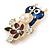 Funky Blue Crystal Enamel Owl Brooch In Gold Tone Metal - 45mm L - view 2