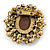 Vintage Inspired Clear Crystal Cameo Brooch In Aged Gold Tone Metal - 50mm L - view 4