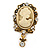 Diamante Cameo Scarf Pin In Aged Gold Tone - 60mm L