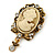 Diamante Cameo Scarf Pin In Aged Gold Tone - 60mm L - view 4