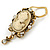 Diamante Cameo Scarf Pin In Aged Gold Tone - 60mm L - view 2