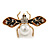 Small Crystal Faux Pearl with Enamel Wings Bee Brooch In Gold Tone - 40mm Across