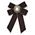 Vintage Inspired/ Retro Men And Women Universal Black Silk Ribbon Pre-Tied Bow Tie Collar with Pearl and Glass Detailing - 14cm L