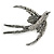 Black/ Clear Crystal Swallow/ Swift Bird Brooch In Silver Tone Metal - 68mm Across - view 1