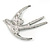 Black/ Clear Crystal Swallow/ Swift Bird Brooch In Silver Tone Metal - 68mm Across - view 5