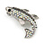 Small Quirky AB/ Black Crystal Fish Brooch In Silver Tone Metal - 35mm Across - view 2