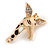 Crystal, Black/ White Enamel Giraffe's Head Brooch In Gold Tone - 35mm Tall - view 2
