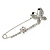Clear Crystal Double Butterfly Safety Pin Brooch In Silver Tone - 80mm L